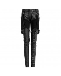 Women Jeans Apocalyptic Style Pant Gothic Black Military Trousers Black Sexy Faux Leather Pant