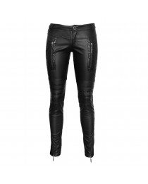 Women Gothic Steampunk Trousers Pant Wet Look Vegan Faux Leather Pant