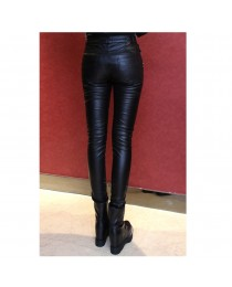 Women Gothic Pu Classic Metal Rivets Trousers Punk Tight Studded Unique Motorcycle Pants