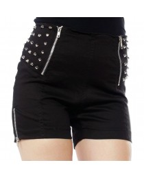 Women Gothic Punk Rock Shorts With Spikes Ladies Gothic Zippers Skirt
