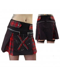 Women Death Rock Short Mini Kilt Skirt Tartan Skirt Gothic For Women Studs