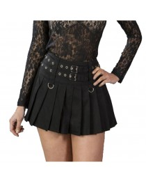 Women Skirt Double Front Buckle Rear Zip Short Fastening Lucy Gothic Mini Skirt