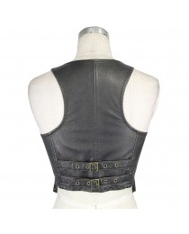 Women Punk rock PU Leather Black Women Vest