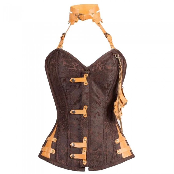 Women Hall Brown Steampunk Corset With Attached Neck Gear
