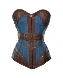 Women Corset Harnock Denim Overbust Corset With Brown Faux Leather
