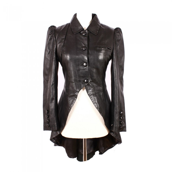 Victorian Style Ladies Women Black Luxury Real Leather Gothic Jacket     2020