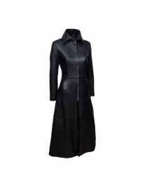 Gothic Ladies Vampire Coat Black Soft Women Lamb Leather Full Length Coat      2020
