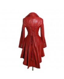 Valentine Red Ladies Designer Military Real Lambskin Leather Corset Tail Coat     2020
