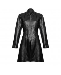 Women Gothic Trench Steampunk Black Coat Gothic Sexy Leather Jacket     2020