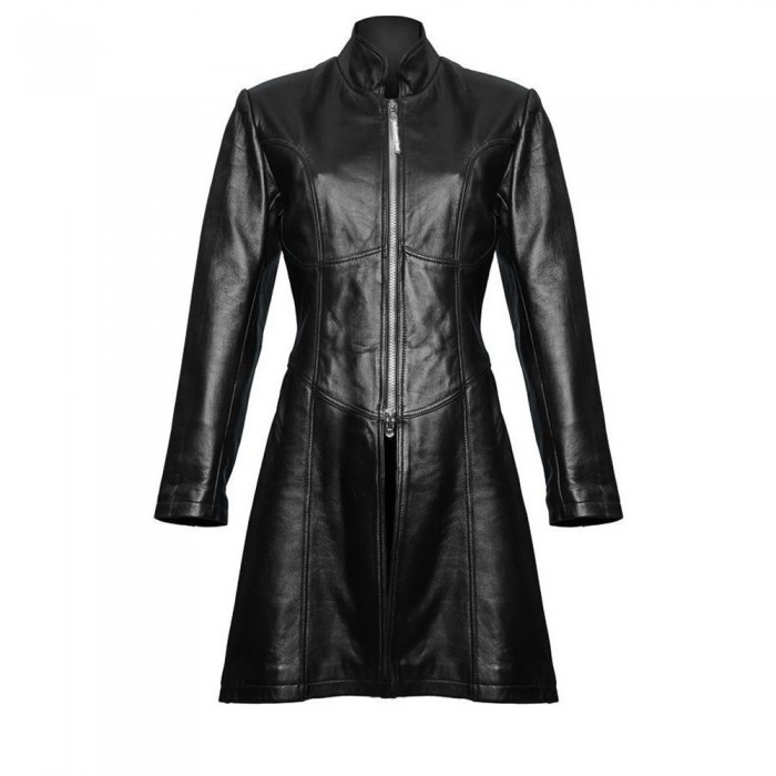 Women Gothic Trench Steampunk Black Coat Gothic Sexy Leather Jacket