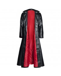 Men Retro Leather Long Coat Trench Steampunk Gothic Jacket Red Aster