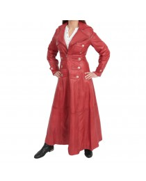 New Ladies Real Red Gothic Long Women Coat Sissy Empress Fitted Nappa Leather Jacket