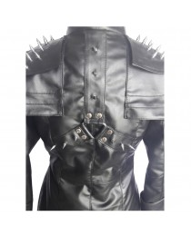 Women Gothic REAL Black Leather Goth Matrix Trench Coat Steampunk Gothic Jacket