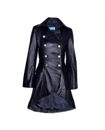 Women Gothic Nemesis Black Vintage Military Soft Leather Victorian Vampire Goth Coat