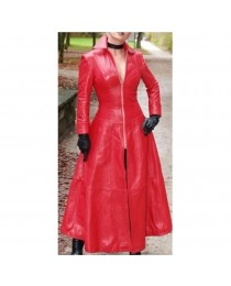 Women Gothic Red Genuine Leather Catsuit Lederoverall Long Zipper Sexy Dress