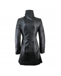 Woman's Ladies Vintage Soft Washed Real Leather Jacket Trench Coat