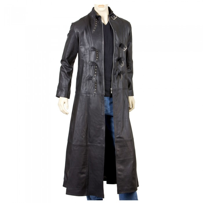 Men Goth Steampunk Gothic Leather Trench Coat Full Length Coat