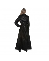 Women Gothic Long Coat Genuine Leather Fashion Front Zipper Fashion Coat     2020