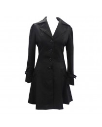 Women Steampunk Victorian Corset Riding Jacket Black Long Collared Ruffle Jacket Coat