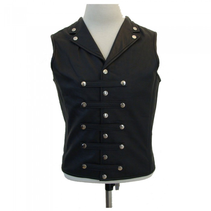 Mens Gothic Military Leather Waistcoat