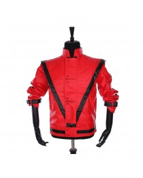Rare MJ Red THRILLER Leather Jacket Men Gothic Party Style Fashion Jacket