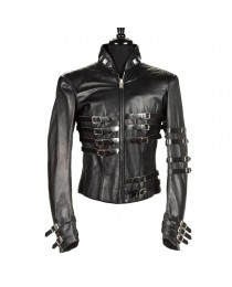 MJ Hot Leather Jacket Military Style Gothic Jacket