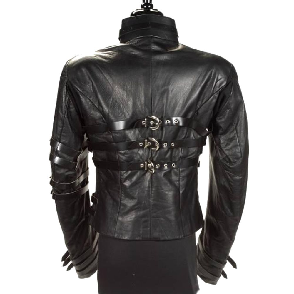 New Military Parade Style Men/'s Classic Black Red Real Leather Rock Jacket Coat