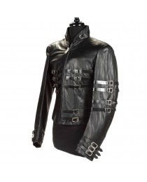 MJ Hot Leather Jacket Military Style Gothic Jacket     2020