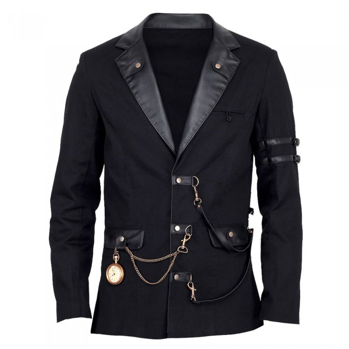 Vintage Goth Steampunk Jacket Men Black Gothic black jacket      2021