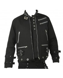 Men Punk Bondage Eyelet Dead Threads Men Gothic Zips Jacket
