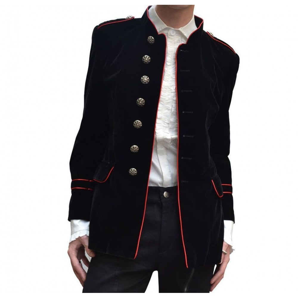 Gothic Vampire Jacket with Collar - Size: Chest 42`-44`, .. COST-M NEW Black