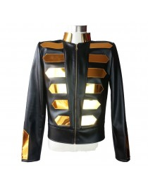 Nightclub Gold Fashion Leather Jacket