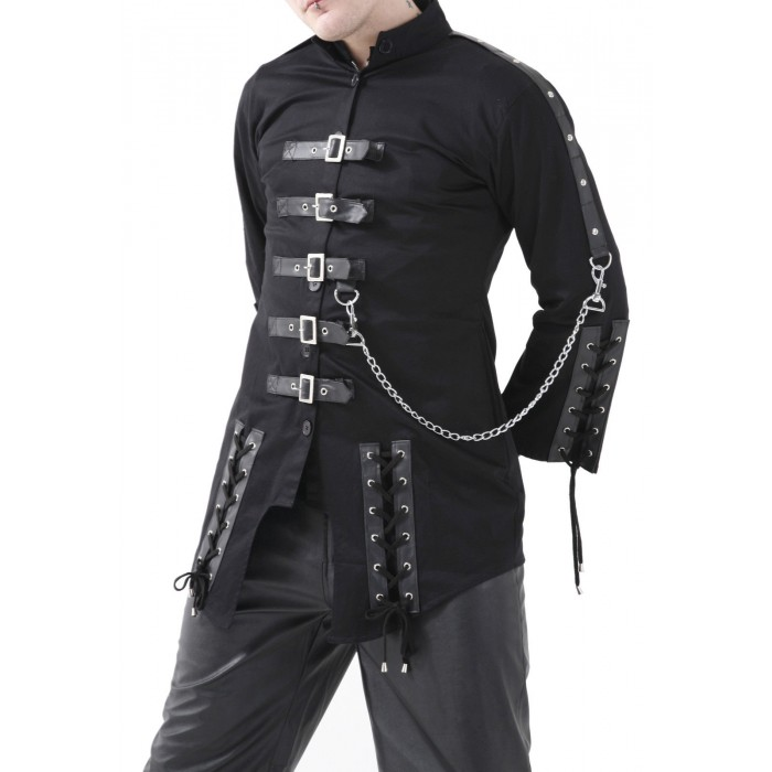Gothic Black Men Dead Threads Jacket Corseting Chain EMO Cyber Jacket