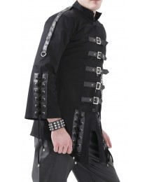 Gothic Black Men Dead Threads Jacket Corseting Chain EMO Cyber Jacket      2021