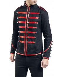 Men Red Parade Military Jacket Steampunk Marching Drummer Jacket
