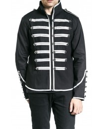 Men Gothic Military Parade Marching Jacket Steampunk EMO Army Band Drummer Jacket