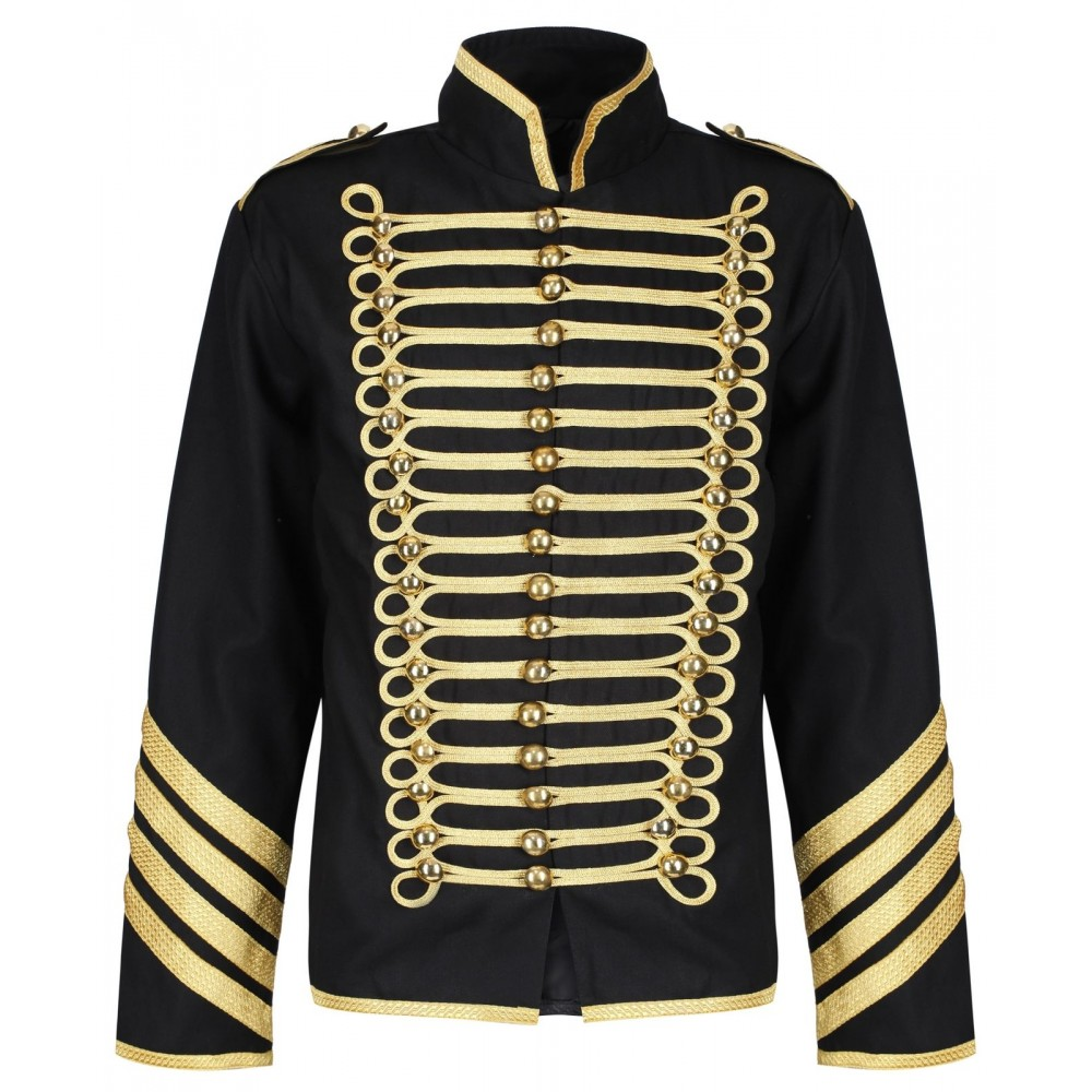 100/% COTTON STEAMPUNK SILVER MILITARY JACKET DRUMMER HUSSAR BAND PARADE EMO PUNK