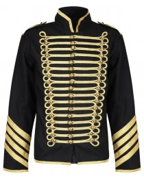 Men Silver Gold Military Jacket Drummer Gothic Army Parade Jacket