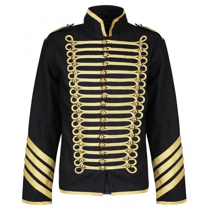 Men Silver Gold Military Jacket Drummer Gothic Army Parade Jacket     2021