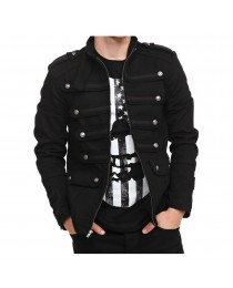 Mens Vintage Goth Style Gothic Steampunk Military Jacket      2021