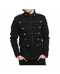 Mens Vintage Goth Style Gothic Steampunk Military Jacket