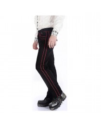 Mens Pentagramme Black Red Gothic Military Officer Pants Trousers