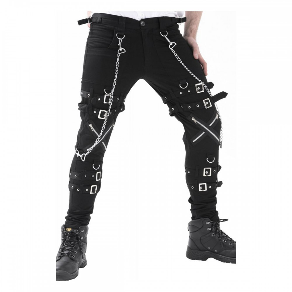 Punk Rave Mens Dieselpunk Pants Jeans Black Gothic Punk Steampunk Strap Trousers