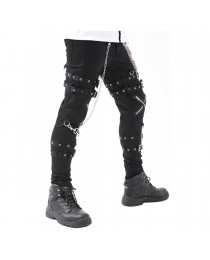 Cross Zip Chain Straps Mens Gothic Pant Cyber Punk Bondage Trousers Pant     2020