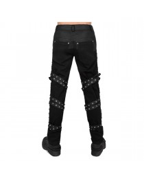 Men Gothic Pants Halloween Costume House Fashion PU Buckles Pant Trousers