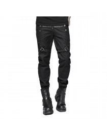 Men Gothic Leather Straps Diesel Punk Military Style Pant