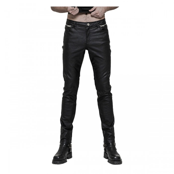 Devil Fashion Rock Men Pu Leather Black Pants punk Goth Trousers Steampunk Hot Pant
