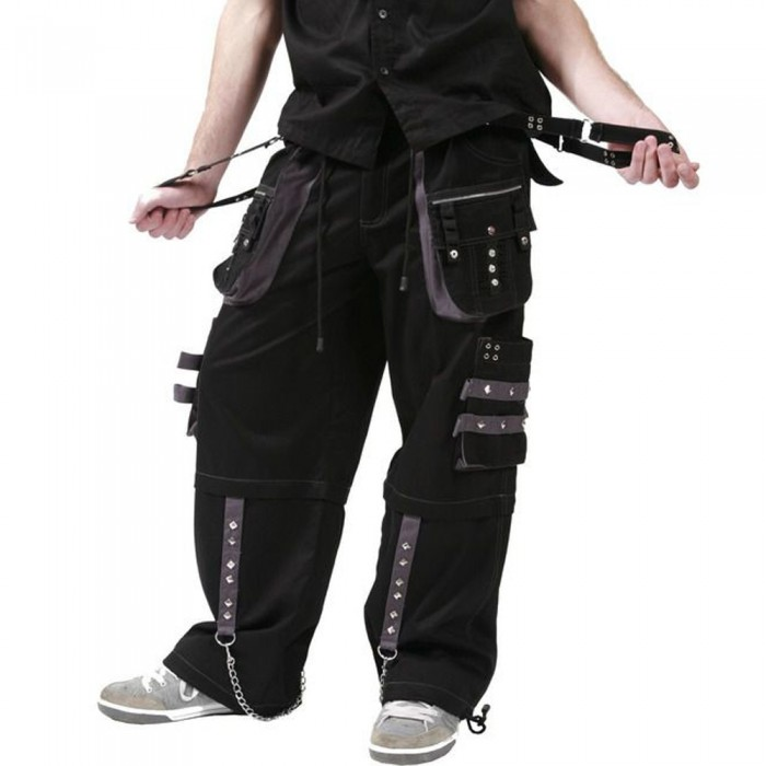 Men Black Dead Threads Grey Trousers Gothic Studs Metal Cotton Punk Emo Trousers     2020