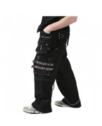 Men Black Dead Threads Grey Trousers Gothic Studs Metal Cotton Punk Emo Trousers
