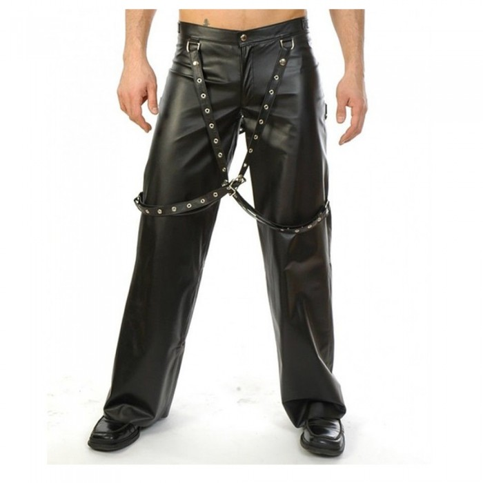Men Gothic Genuine Leather Biker Pant with Suspender Buckle Bondage Pants